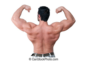 Bodybuilder showing muscle.