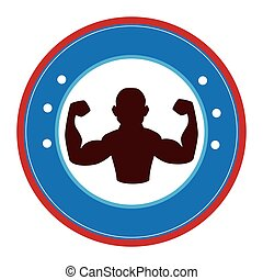 bodybuilder silhouette isolated icon vector illustration...