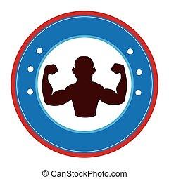 bodybuilder silhouette isolated icon vector illustration...
