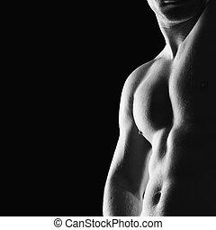 Bodybuilder - Silhouette of young athlete bodybuilder man on...