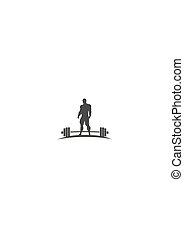 Bodybuilder silhouette posing - Bodybuilder and barbell...