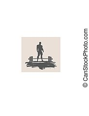 Bodybuilder silhouette posing - Bodybuilding and barbell...
