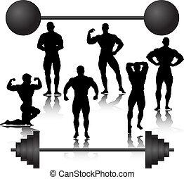bodybuilder silhouette weights training muscular