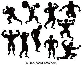 bodybuilder, silhouette