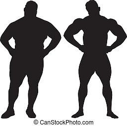 bodybuilder, silhouettes, dike man