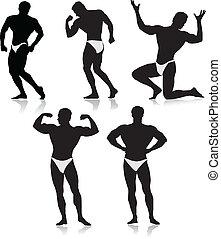 Bodybuilder silhouette.Vector - bodybuilders collection...