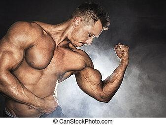 bodybuilder, silny, biceps