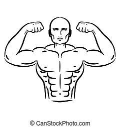 Bodybuilder sketch hand drawn silhouette vector.