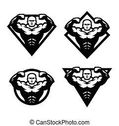 bodybuilder, sport, logo., duelighed