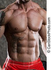 bodybuilder, sterke, zes pak