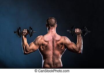 bodybuilder, torso, back, gespierd