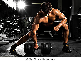 bodybuilder - very power athletic guy , execute traction ...