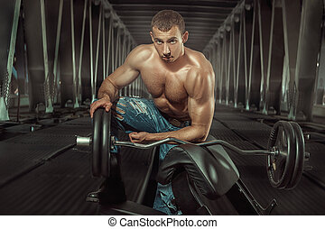 Bodybuilder with a barbell.