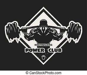 Bodybuilder with a barbell emblem.