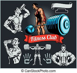 Bodybuilder with a barbell - vector set - Emblem bodybuilder...