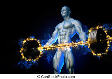 Bodybuilder with a burning barbell