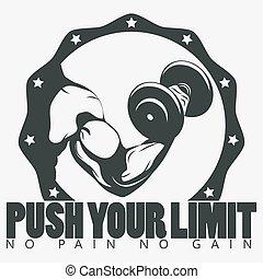 Bodybuilder with dumbbell. Biceps Flex arm gym sign....