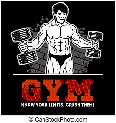 Bodybuilder with dumbbells - monochrome vector illustration