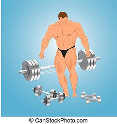bodybuilder with weights, vector
