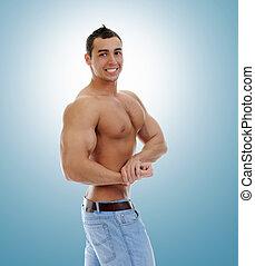 bodybuilder, zijn, het tonen, spierballen