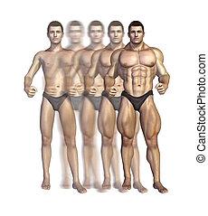 Bodybuilder's Transformation - Illustration depicting a...