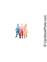 bodybuilding, 3, set, silhouette