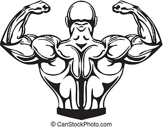bodybuilding, a, powerlifting, -, vector.