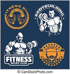 Bodybuilding and fitness gym logos and emblems