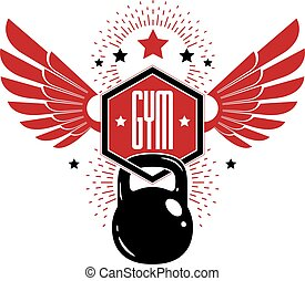 Bodybuilding and fitness sport logo templates, retro style vector emblem with wings. With kettlebell.