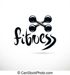 Bodybuilding and fitness sport logo template, retro style vector emblem. Two dumbbells crossed.