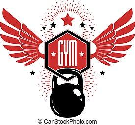 Bodybuilding and fitness sport logo templates, retro style ...