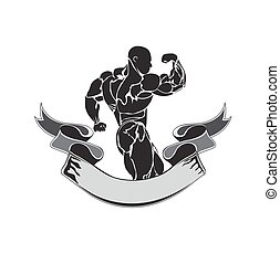 Bodybuilding and powerlifting concept, icon, banner,...