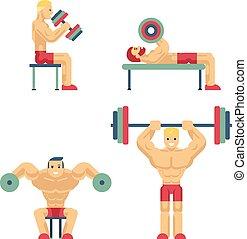 bodybuilding, apartamento, estilo, weightlifting, ícones