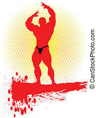 Bodybuilding. - Bodybuilder in action.