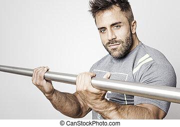 bodybuilding, brodaty człowiek