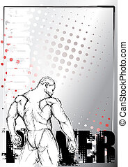bodybuilding, cartaz, fundo, 1