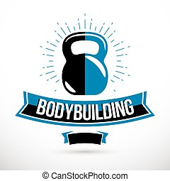 Bodybuilding competition concept, vector kettle bell symbol. Cross fit equipment.