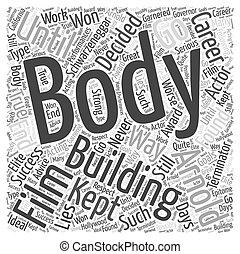 bodybuilding, concept, woord, arnold, schwarzeneggar, wolk