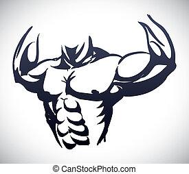 bodybuilding design - bodybuilding graphic design , vector...