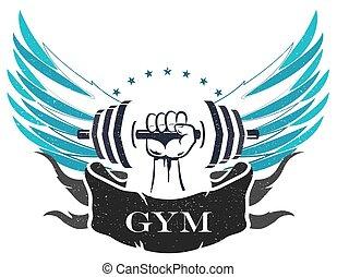 bodybuilding, e, idoneità, simbolo