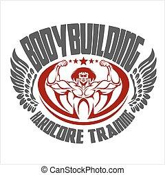 Bodybuilding emblem. Isolated background.