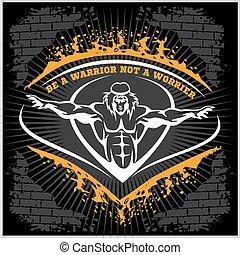 Bodybuilding emblem on dark grunge background.