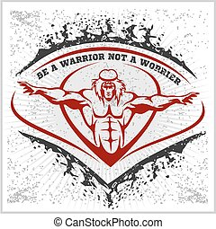 Bodybuilding emblem on white grunge background.
