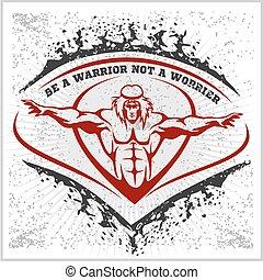 Bodybuilding emblem on white grunge background.