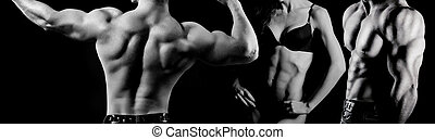 bodybuilding., femme, homme