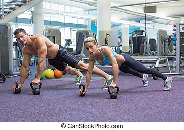 bodybuilding, frau, heben, mann