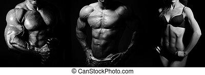 bodybuilding., frau, mann