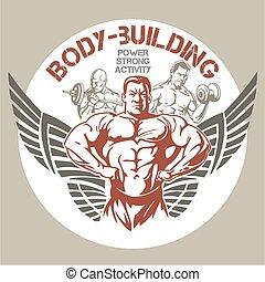 bodybuilding, -, ginásio, vetorial, emblema