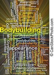 bodybuilding, glowing, conceito, fundo