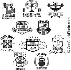 Bodybuilding gym or powerlifting club vector icons - Gym and...